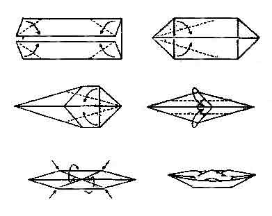 схема оригами лодка-каноэ