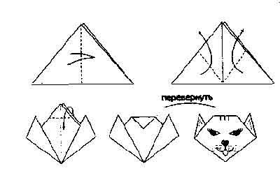 схема оригами мордочка лисы