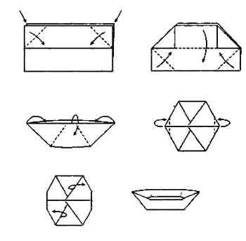 схема оригами лодка